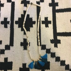Blue and white beaded tassel necklace
